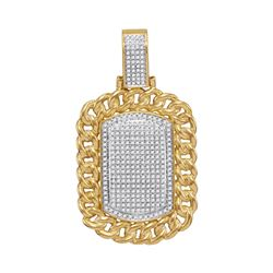 0.90 CTW Mens Diamond Cuban Link Outline Dog Tag Charm Pendant 10KT Yellow Gold - REF-97K4W