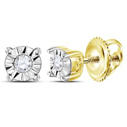 0.05 CTW Diamond Solitaire Illusion Earrings 10KT Yellow Gold - REF-7W4K