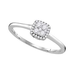0.22 CTW Diamond Halo Cluster Bridal Engagement Ring 10KT White Gold - REF-19K4W