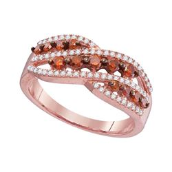 0.60 CTW Red Color Diamond Crossover Fashion Ring 10KT Rose Gold - REF-34F4N