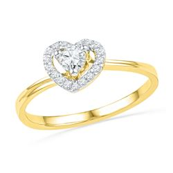 0.25 CTW Diamond Heart Love Promise Bridal Ring 10KT Yellow Gold - REF-25W4K