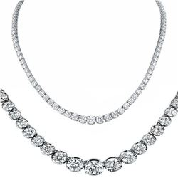 Natural 14.12CTW VS/I Diamond Tennis Necklace 18K White Gold - REF-1432Y8W