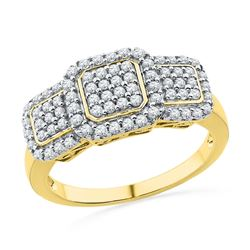 0.50 CTW Diamond Triple Cluster Ring 10KT Yellow Gold - REF-36X2Y