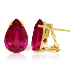 Genuine 10 ctw Ruby Earrings Jewelry 14KT Yellow Gold - REF-89T5A