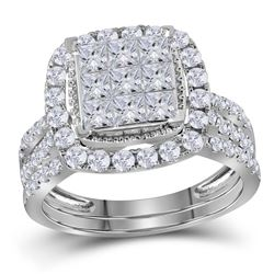 1.72 CTW Princess Diamond Halo Bridal Engagement Ring 14KT White Gold - REF-134X9Y