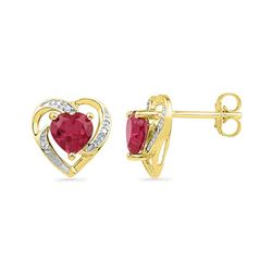 0.41 CTW Created Ruby Heart Love Earrings 10KT Yellow Gold - REF-12N2F