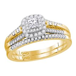 0.51 CTW Princess Diamond Bridal Engagement Ring 14KT Yellow Gold - REF-89W9K