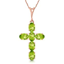 Genuine 1.50 ctw Peridot Necklace Jewelry 14KT Rose Gold - REF-32A8K