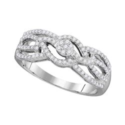0.33 CTW Diamond Woven Strand Cluster Ring 10KT White Gold - REF-24X2Y