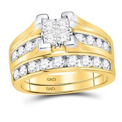 1.5 CTW Princess Diamond Bridal Engagement Ring 14KT Yellow Gold - REF-149X9Y