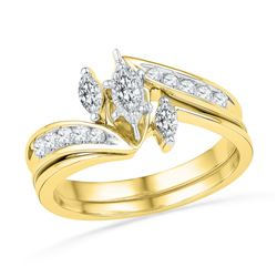 0.50 CTW Marquise Diamond 3-Stone Bridal Engagement Ring 10KT Yellow Gold - REF-57W2K