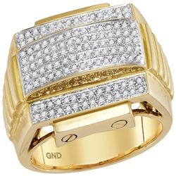 0.51 CTW Mens Diamond Arched Ribbed Sides Cluster Ring 10KT Yellow Gold - REF-82H4M