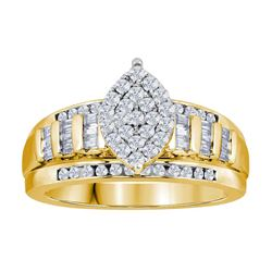 0.53 CTW Diamond Oval Cluster Bridal Engagement Ring 10KT Yellow Gold - REF-41H9M