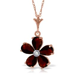 Genuine 2.22 ctw Garnet & Diamond Necklace Jewelry 14KT Rose Gold - REF-30Y2F