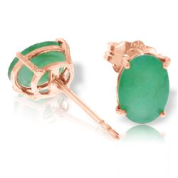 Genuine 1.80 ctw Emerald Earrings Jewelry 14KT Rose Gold - REF-24N5R