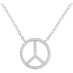 0.15 CTW Diamond Peace Sign Circle Pendant 10KT White Gold - REF-18Y2X