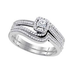 0.38 CTW Diamond Princess Bridal Engagement Ring 10KT White Gold - REF-52K4W