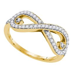 0.33 CTW Diamond Infinity Ring 10KT Yellow Gold - REF-30W2K