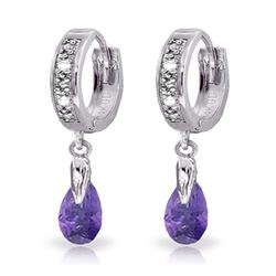Genuine 1.37 ctw Amethyst & Diamond Earrings Jewelry 14KT White Gold - REF-34Z3N