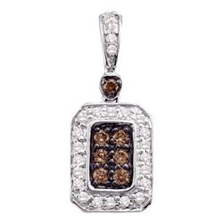 0.25 CTW Cognac-brown Color Diamond Rectangle Cluster Pendant 10KT White Gold - REF-25Y4X