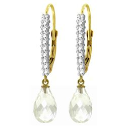 Genuine 4.8 ctw White Topaz & Diamond Earrings Jewelry 14KT Yellow Gold - REF-53H2X