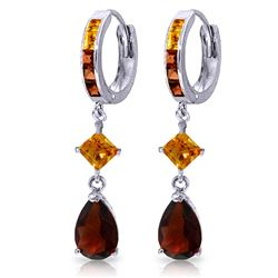 Genuine 5.15 ctw Garnet & Citrine Earrings Jewelry 14KT White Gold - REF-61H8X