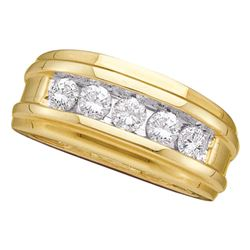 1 CTW Mens Diamond Single Row Ridged Wedding Ring 14KT Yellow Gold - REF-165H2M