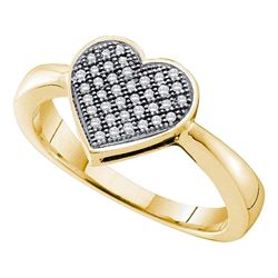0.10 CTW Diamond Heart Love Cluster Ring 10KT Yellow Gold - REF-19F4N