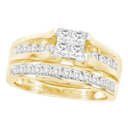 3 CTW Princess Diamond Bridal Engagement Ring 14KT Yellow Gold - REF-359N9F