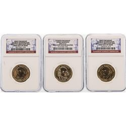 Set of (3) 2007 $1 Presidential Dollar Coins NGC First Day of Issue