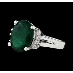 5.53 ctw Emerald and Diamond Ring - 14KT White Gold