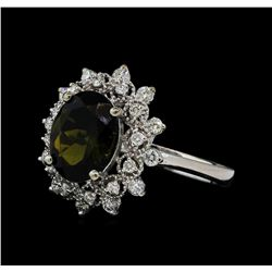 2.65 ctw Green Tourmaline and Diamond Ring - 14KT White Gold