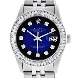 Rolex Mens Stainless Steel Blue Vignette Princess Cut Diamond Datejust Wristwatc