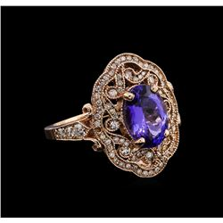 3.33 ctw Tanzanite and Diamond Ring - 14KT Rose Gold