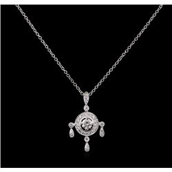 0.91 ctw Diamond Pendant With Chain - 18KT White Gold