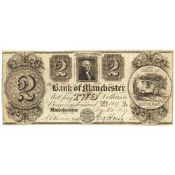 1839 $2 Bank of Manchester, Manchester, MI Obsolete Bank Note