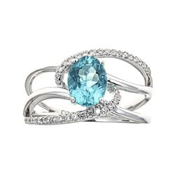 1.16 ctw Apatite and Diamond Ring - 18KT White Gold