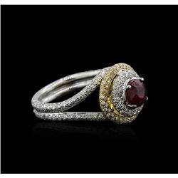 18KT Two-Tone Gold 1.01 ctw Ruby and Diamond Ring