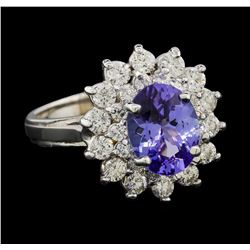 2.17 ctw Tanzanite and Diamond Ring - 14KT White Gold