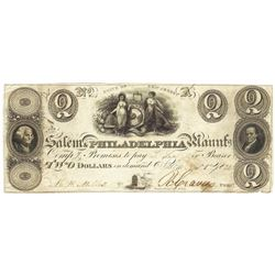 1828 $2 Salem-Philadelphia, NJ Obsolete Bank Note