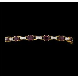 8.50 ctw Ruby and Diamond Bracelet - 14KT Yellow and White Gold