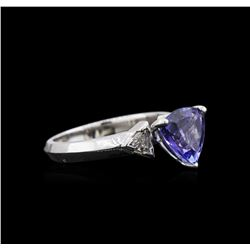 2.08 ctw Tanzanite and Diamond Ring - 14KT White Gold