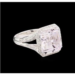 9.61 ctw Kunzite and Diamond Ring - 18KT White Gold