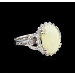 3.28 ctw Opal and Diamond Ring - 14KT White Gold