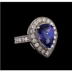 14KT White Gold 3.30 ctw Tanzanite and Diamond Ring