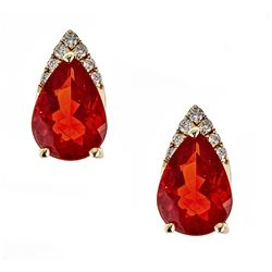 0.97 ctw Fire Opal and Diamond Earrings - 14KT Yellow Gold