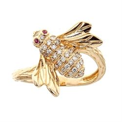 0.01 ctw Ruby and Diamond Ring - 14KT Yellow Gold