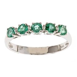 0.62 ctw Emerald and Diamond Ring - 14KT Yellow Gold