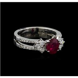 1.25 ctw Ruby and Diamond Ring - 18KT White Gold
