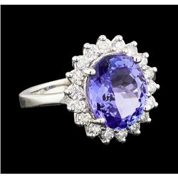 4.09 ctw Tanzanite and Diamond Ring - 14KT White Gold